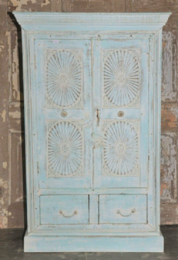 Colonial Sunburst Cupboard with faded blue and white paint hues, Gujarat <b>sold<b>